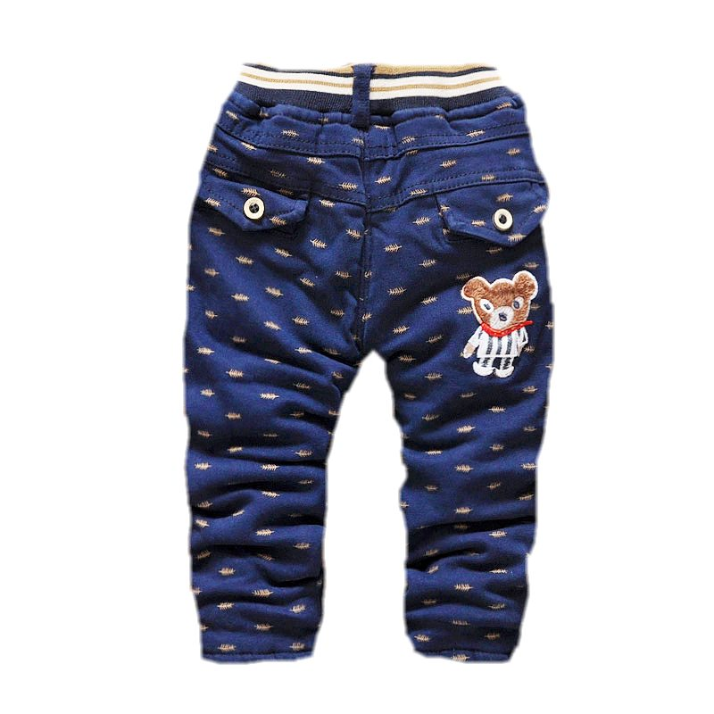 winter boys pants thick warm kids trousers cartoon bear children pants straight cotton dk140(China (Mainland))