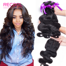 Brazilian Virgin Hair With Closure 7A Unprocessed Human Hair Weft 3/4 Bundles With Lace Closure Brazilian Body Wave With Closure(China (Mainland))