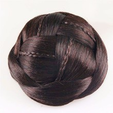 New Novelty Hair Accessories for Women Good quality Hair Braided Chignon Synthetic Hair Bun Extensions HB053(China (Mainland))