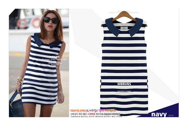 New Vestidos Europe and the United States Naval Stripe Blue Sleeveless Women Dress Led Stripe Peter Aan Collar Vest Dress 0226(China (Mainland))