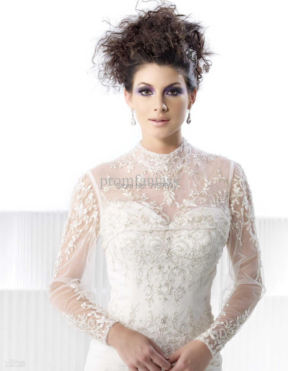 New winter white elegant long sleeve high neck lace bridal for Wedding dress long sleeve lace jacket
