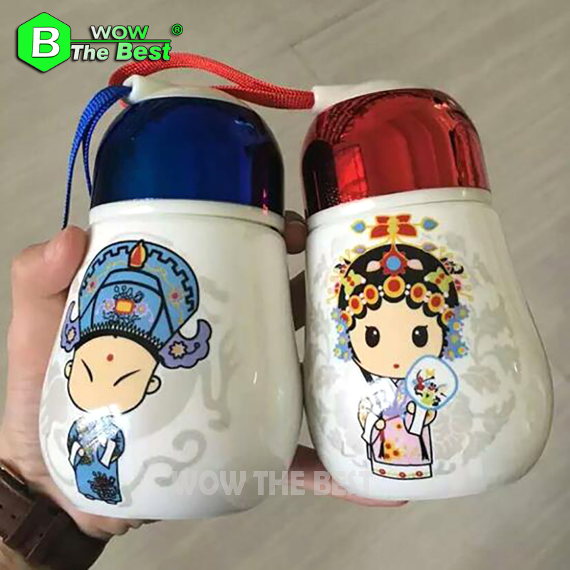 Big Belly Light Bulb Ceramics Cups,Creative Penguin Cup, With a Hand Rope, Porcelain Water cup Fashion Lnsulation Mugs Best Gift(China (Mainland))