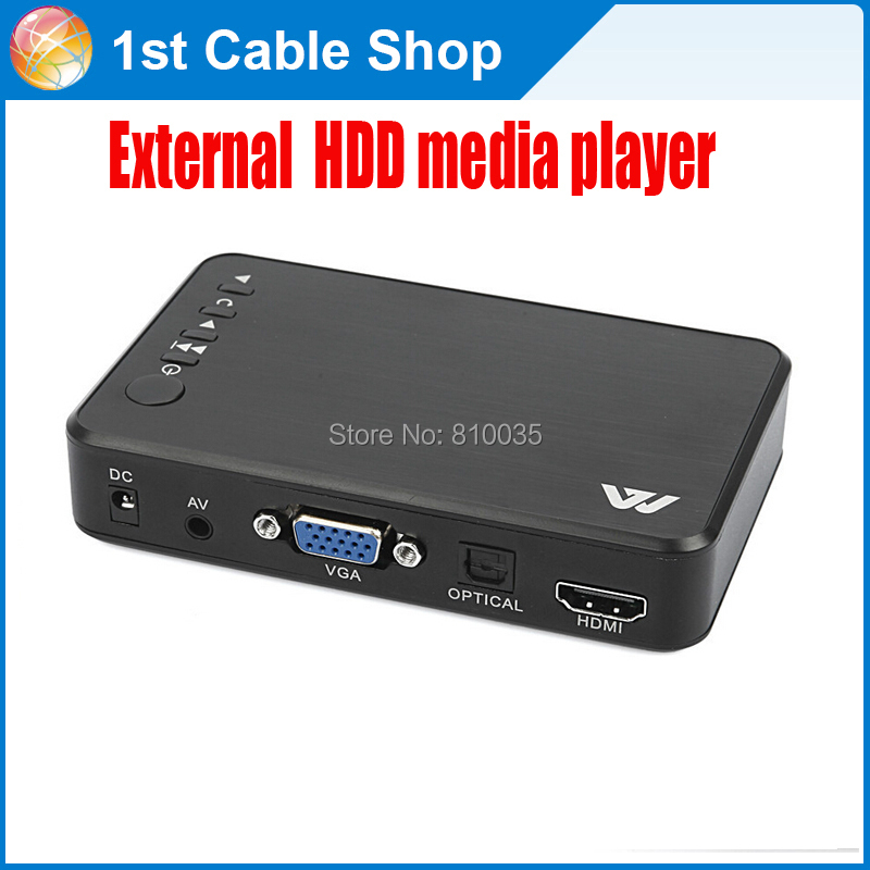 Free shipping&wholesale 1PCS Full HD 1080P USB External HD Media Player with HDMI VGA SD AV Port+remote in retail package(China (Mainland))