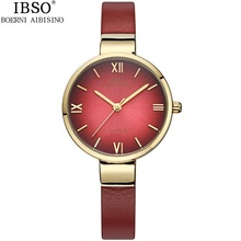 2016 Branded IBSO Watches Women Gold Luxury 30m Waterproof Genuine Leather Band Round Analog Quartz Wristwatch with Logo
