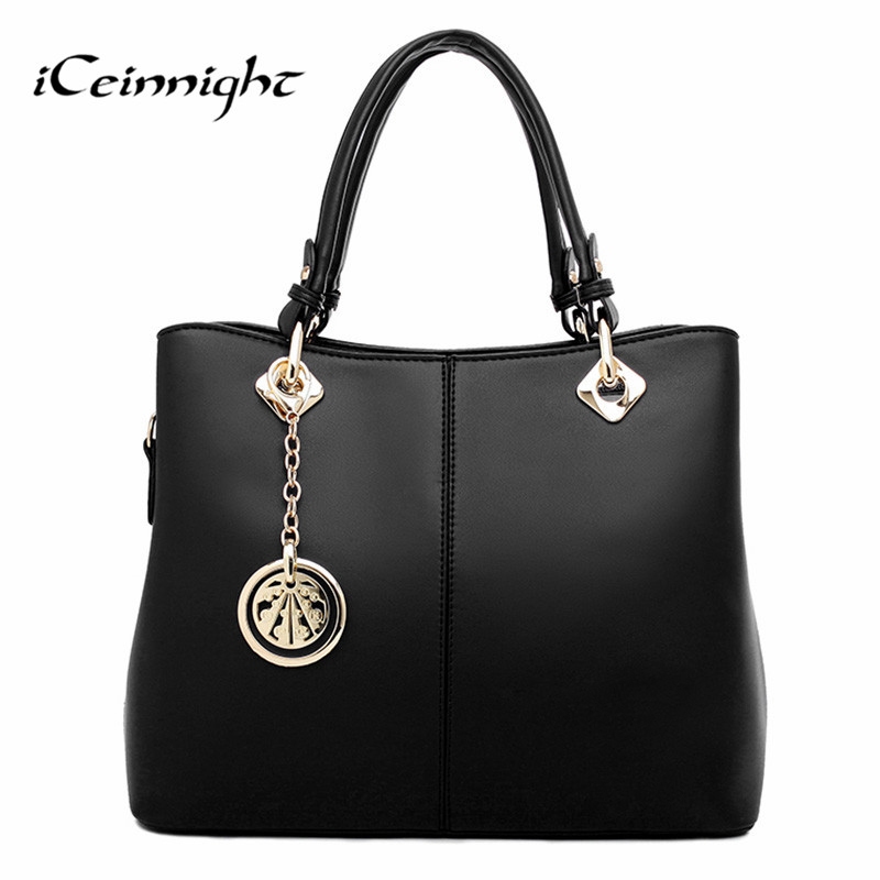 iCeinnight Summer Elegant Women Handbag Solid PU Leather Women Big Shoulder Bags Zipper Soft Ladies Bag Bolsas Femininas tote