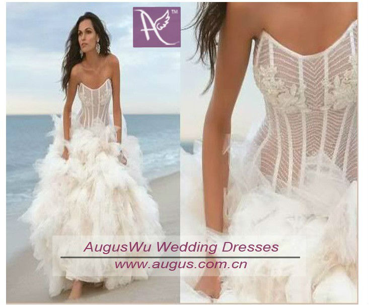 Awl3187 sexy fashion strapless ball gown see through for See through corset wedding dresses