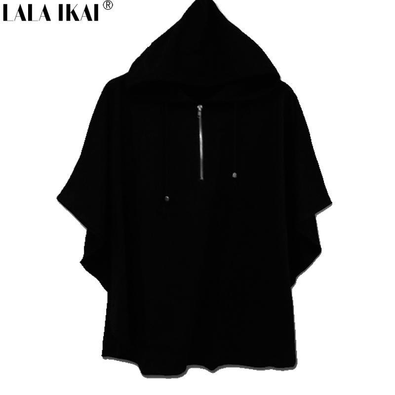 Plus Size 8XL Mens Gothic Style T Shirt Hip Hop Fifth Sleeve Hooded Tee Shirt Bat Shirt Cape Brand Clothing SMB1122-4.9(China (Mainland))