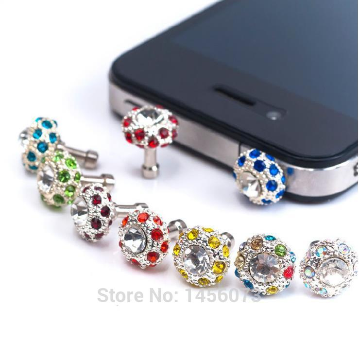 Free shipping 1pcs/lot Fashion diamond dust plug Bird's Nest crystal with 3.5mm jack For apple iPhone 5s 5 4s 4 iPAD(China (Mainland))