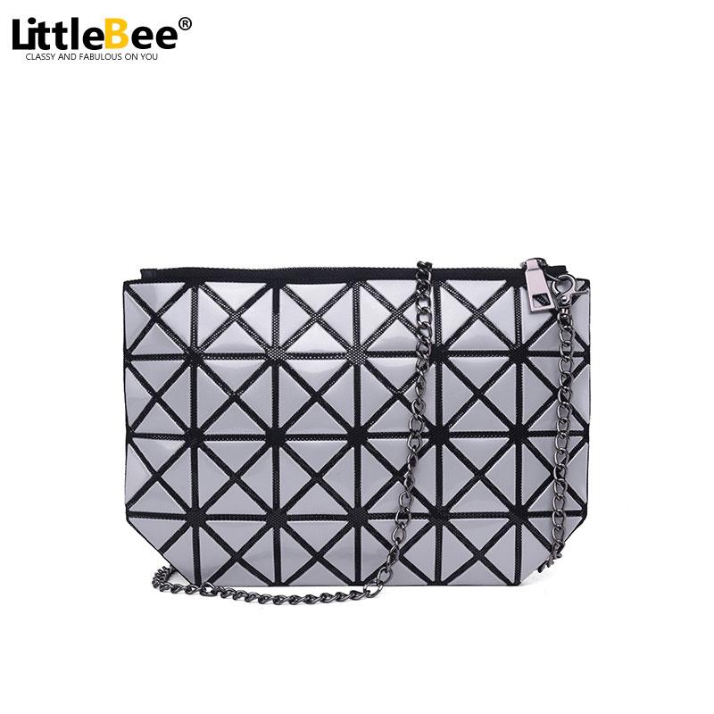 Women Bag Fold Over Handbags Geometric Goint font b Plaid b font Casual Clutch makeup Bags