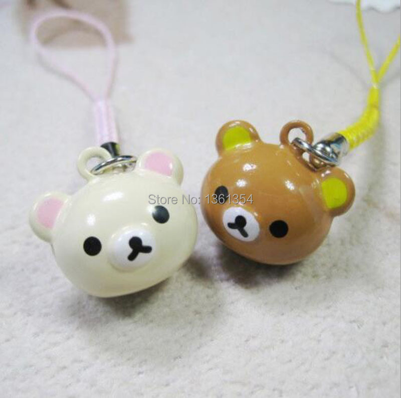 Popular New 100 pcs Cute Pink & Brown Rilakkuma Bell Mobile Cell Phone Charm Strap Party Gift(China (Mainland))