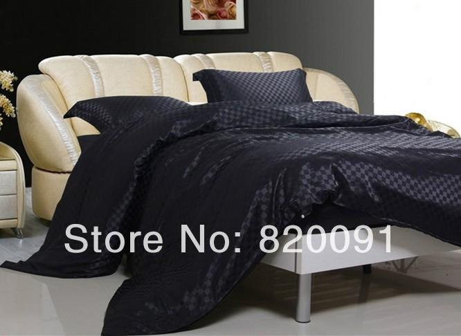 Popular satin black comforter buy cheap satin black comforter lots from china satin black - Bedroom sets for men ...