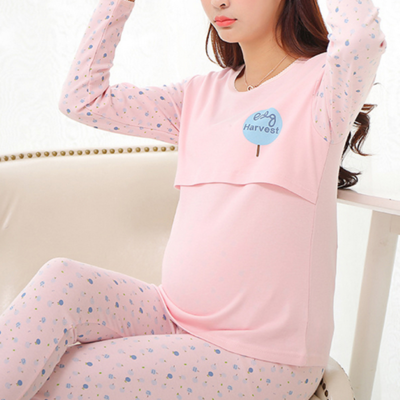 2017 new Maternity Nursing Pajamas Set Breastfeeding clothes Maternity Sleepwear clothes for Pregnant Women Sleep & Lounge M641