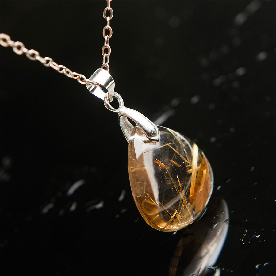 Brazil Genuine Natural Crystal Stone Pendant Gold Titanium Rutilated Quartz Necklace Waterdrop Teardrop Charm Pendant Beads(China (Mainland))