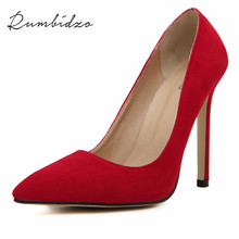 Rumbidzo Size 35-43 Women Pumps 2017 Sexy High Heels Pointed Toe Party Shoes Woman Wedding Office Pumps Red Green Zapato Mujer(China (Mainland))