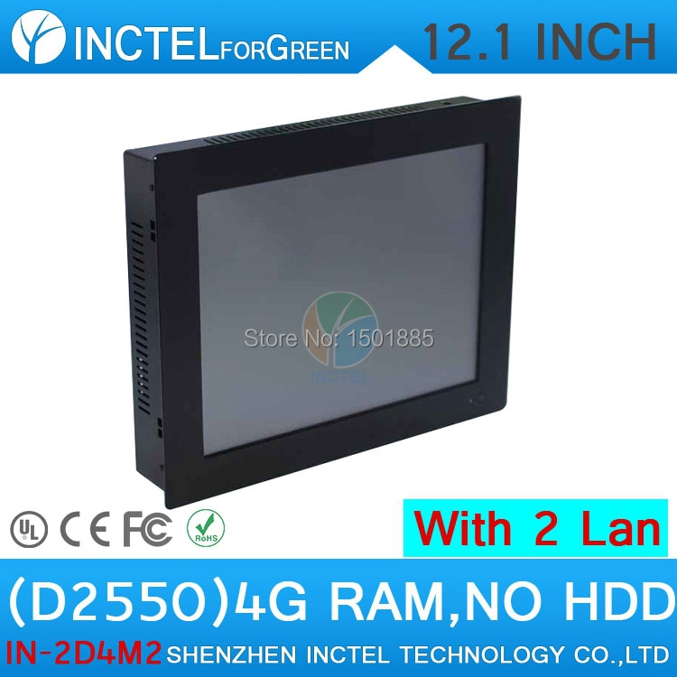 Mini Desktop All In One Computer with Atom D2550 Dual Core 1.86Ghz with 12 inch 2 1000M Nics 2COM Windows 7 or Linux 4G RAM ONLY(China (Mainland))