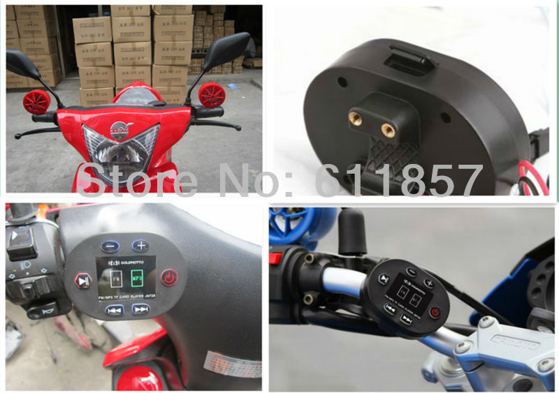 48v speaker, Waterproof Autobicycle/Moped Scooter/Dirt bike mp3 player FM radio,support TF card(China (Mainland))