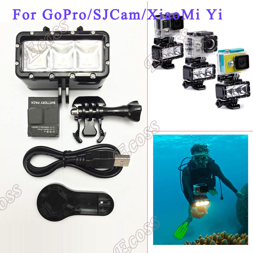 Accessories GoPro Underwater Light Diving waterproof LED video light+Battery& mount GoPro Session Hero4 3+3 Xiaomi Yi SJ4000
