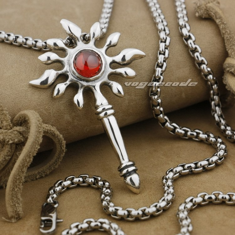 925 Sterling Silver Scepter Red CZ Stone Fashion Sun Pendant 9L006(Necklace 24inch)(China (Mainland))
