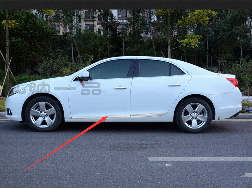 Stainless steel Scuff door Side Molding Trim Chrome Stainless For Chevy Malibu 2013 2014(China (Mainland))