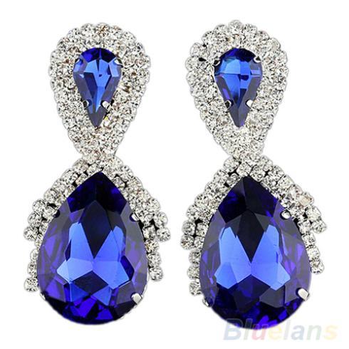 Fashion Big Water Earrings Women Blue Designer Inspired Royal Earrings 00J7(China (Mainland))