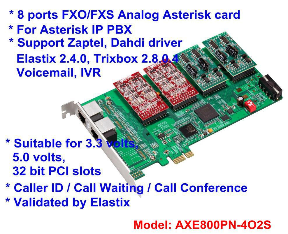 AXE800PN 4O2S PCI-E Analog Asterisk card with 4 FXO 2 FXS module Digium card for Asterisk IP PBX VoIP Call Conference(China (Mainland))
