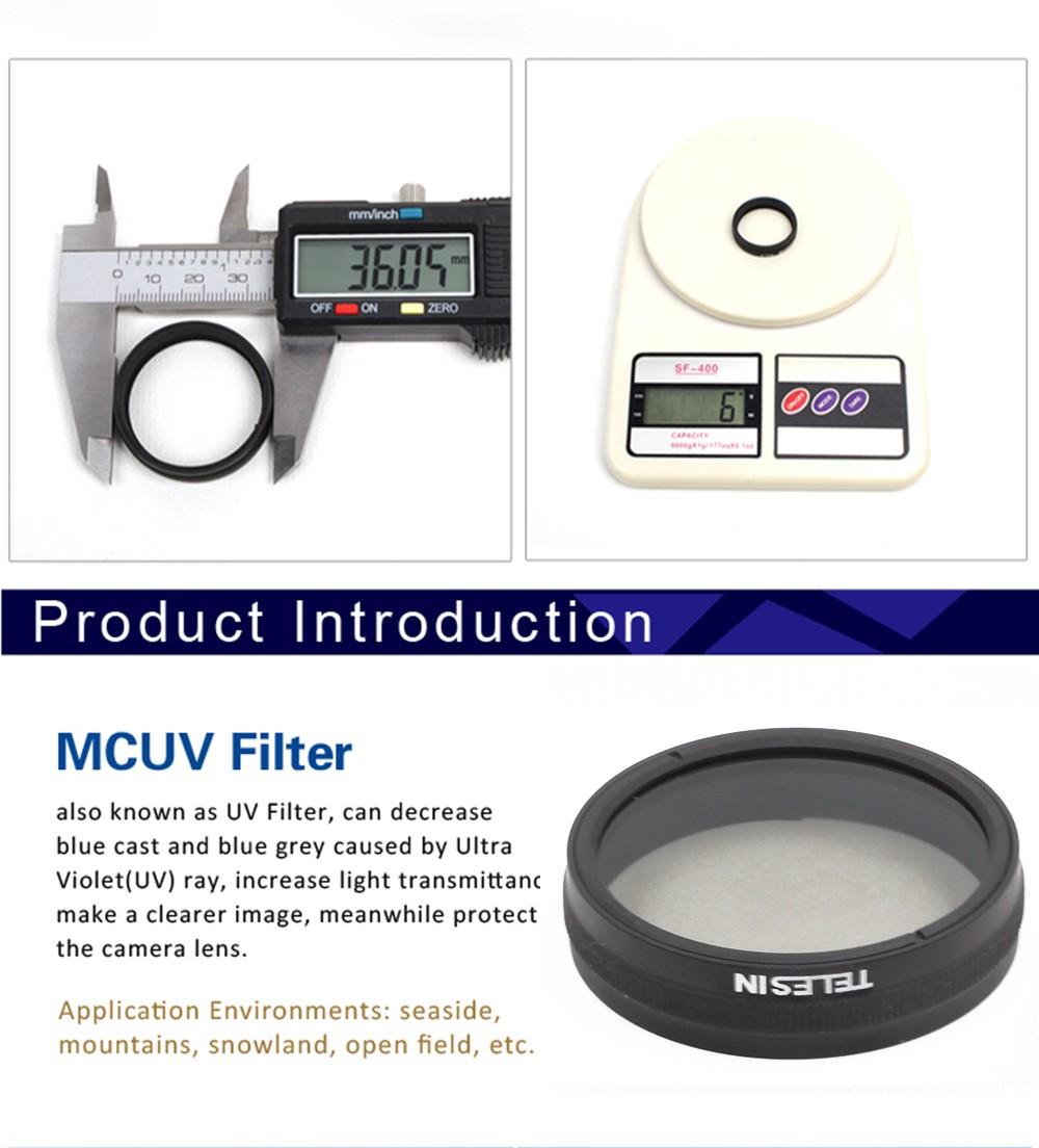TELESIN Multi-coated MC UV Camera Lens Filter Ultraviolet UV Filter for DJI Phantom 3, Phantom 4 DJI Phantom 3 4 Accessories