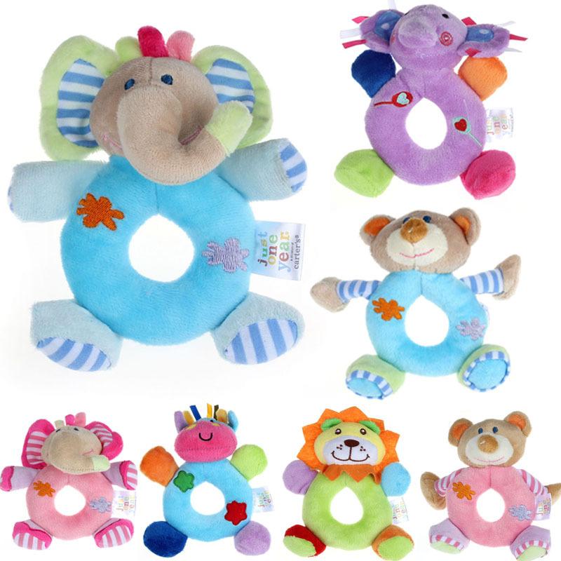 14cmX13cm Baby Girls Boy Infant Mini Hand Rattle Animal Soft Plush Doll Educational Toys Stuffed & Plush Animals(China (Mainland))