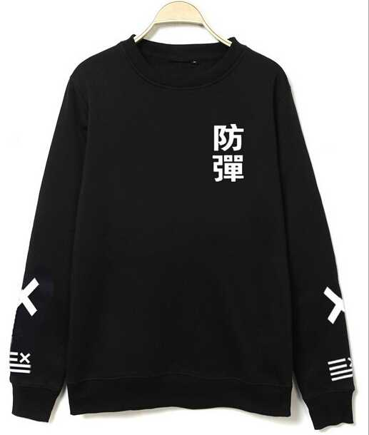 Kpop bts bangtan boys o neck hoodies black white chinese name printed xxlll pullover sweatshirt plus size moletom men women(China (Mainland))
