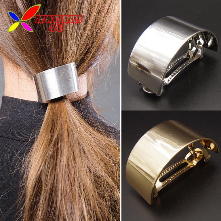 2015 Hot Big Plain Clips Fashion Designer Gold Silver Polish Metal Hair Grips for Women Wedding Jewelry pinzas de pelo(China (Mainland))
