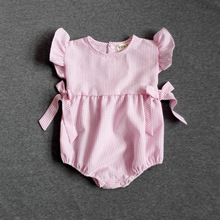 New Baby Bodysuit Cotton and Linen Cute Princess  Bowknot  Summer Style Baby Girls Clothes (China (Mainland))