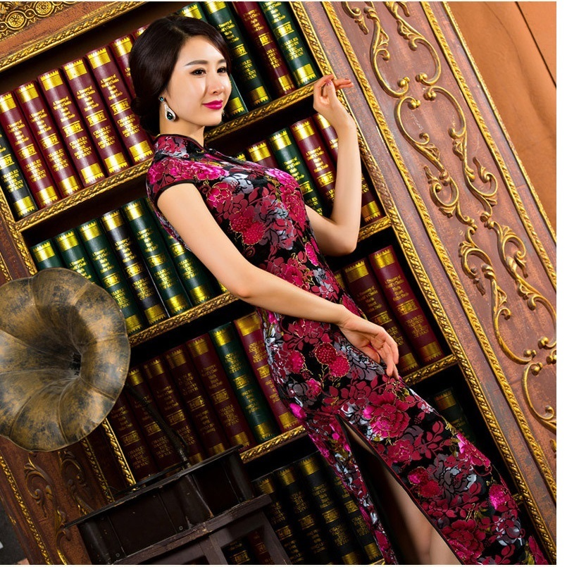 rose red velor fabric long cheongsam dress velvet women winter velvet qipao sexy high-slit long cheongsam dress velvet qipaoÎäåæäà è àêñåññóàðû<br><br>