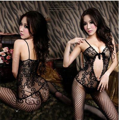 Free Shipping erotic lingerie hot sexy costumes net transparent stocking bodystockings kimono pajamas sleepwear dress for women(China (Mainland))