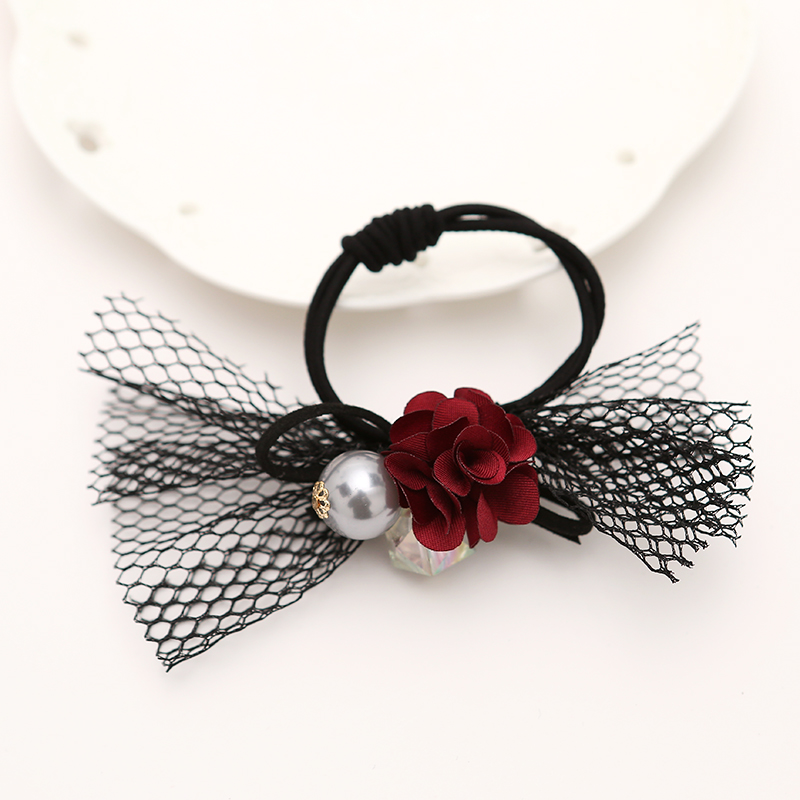 2015 Korean Fabric Flowers Black Net Bow Pearl Bead Elastic Hair Bands Ponytail Holders Hair Accessories for Women(China (Mainland))