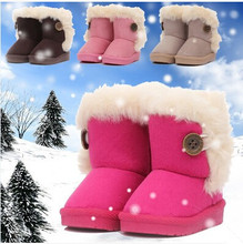2015 Winter Children Boots Thick Warm Shoes Cotton-Padded Suede Buckle Boys Gir