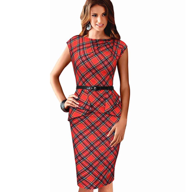 2015 Femmes Plaid Dresses Elegant Women Pencil Dress font b Tartan b font Peplum Ruched Tunic