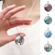 vintage life tree Snow Snowman pendant necklace glass cabochon sterling silver statement statement necklace jewelry for