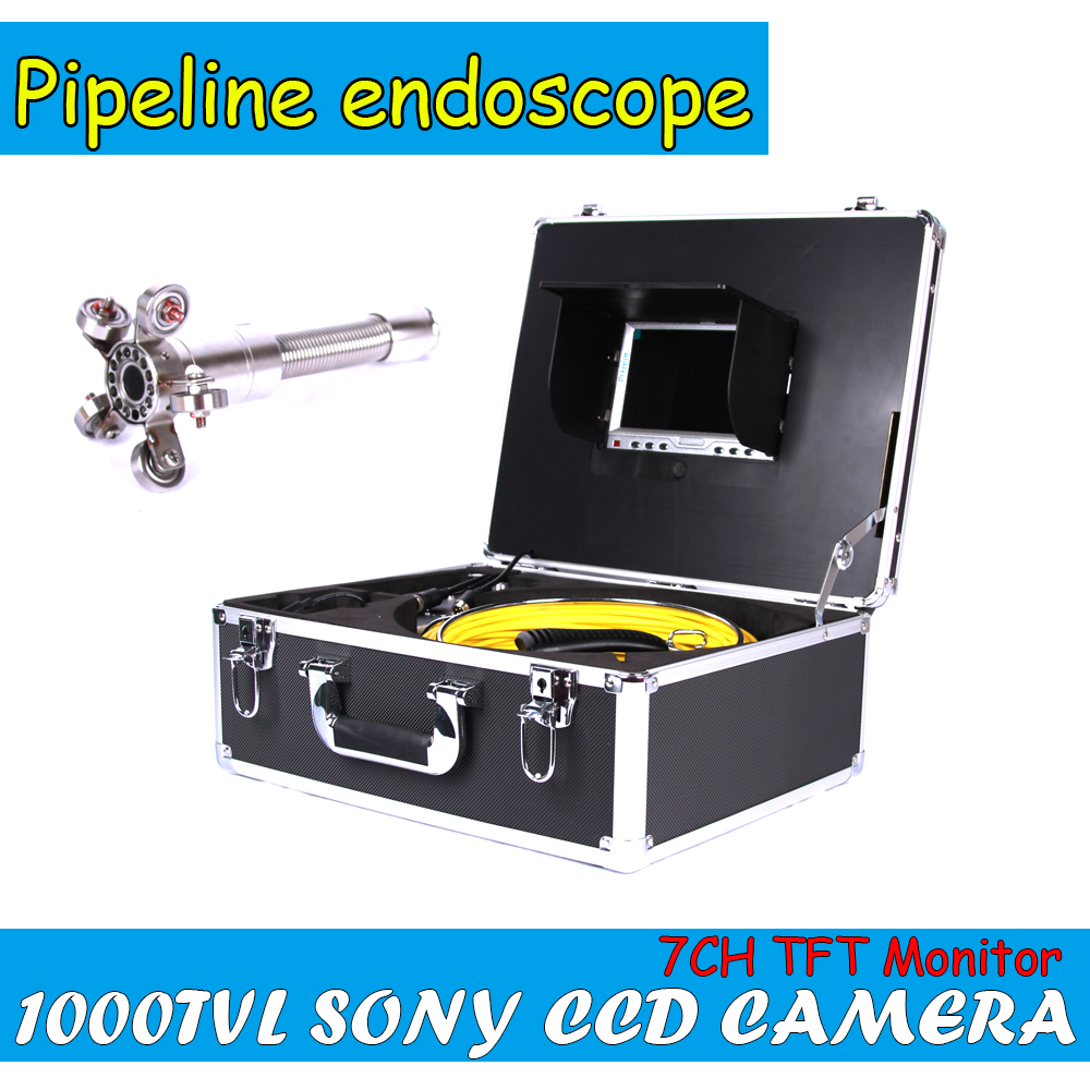 "Duct Cleaning Sewer Pipe Camera System Equipment For Pipeline & Wall Inspection with 7"" LCD DVR Functional 50m Fiberglass Cable(China (Mainland))"