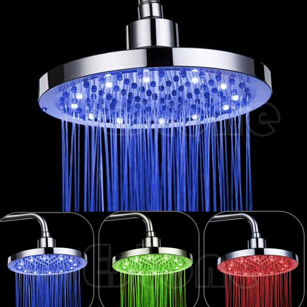 8 Inch RGB LED Light Round Rain Bathroom Shower Head Color Changing ...
