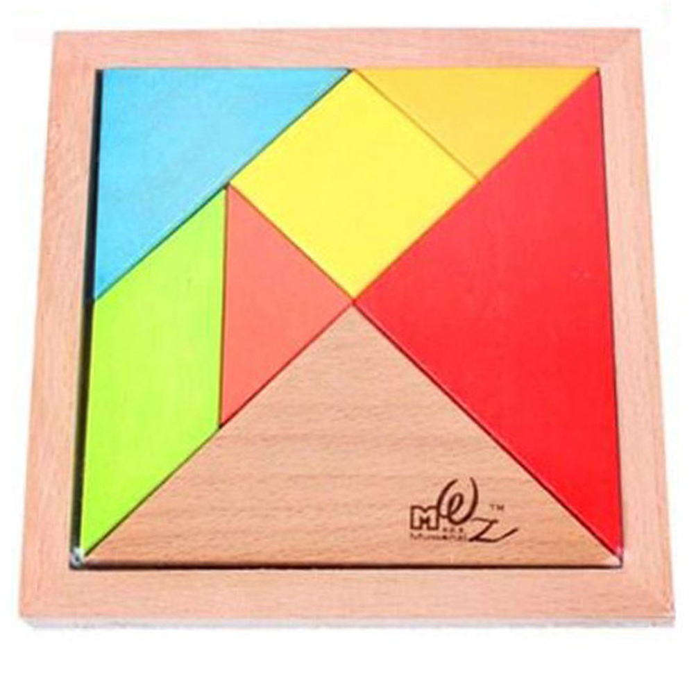 Educational Rainbow Color Wooden Jigsaw Puzzle Beech Large Size Tangram Intelligence Toy for Kids Children's Learning Gift()