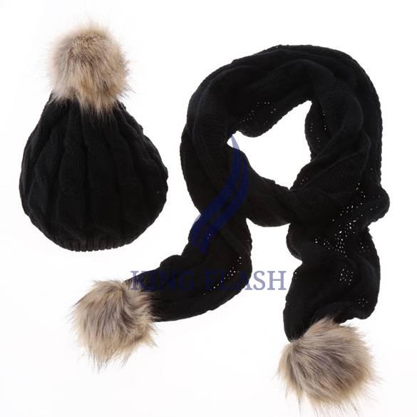 Women Winter Scarf Set Thick Faux Fur Wool Scarves With Hats Ski Cap Hat + Scarf Set Drop Shipping