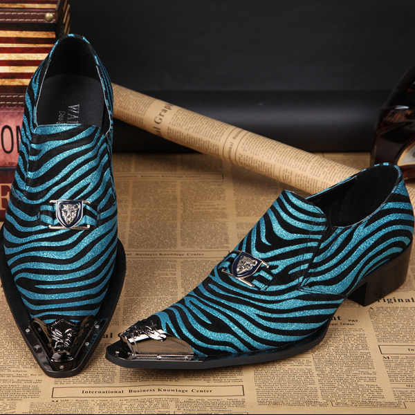 New Fashion Mens Shoes High Heel Handmade Italian Style Dress Loafers shinny glitter blue eveng party shoes metal tip sexy<br><br>Aliexpress