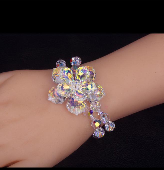 Silver SWA Austrian Crystal Bracelet Camellia Flowers Double Wedding With Lavish Jewelry Original Christmas Gift Free Shipping<br><br>Aliexpress