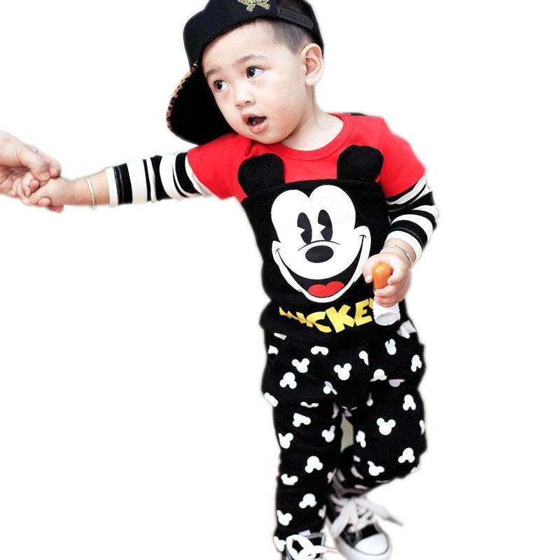 Infant font b Boy b font font b Clothing b font Cartoon Mouse Shirt And Pants