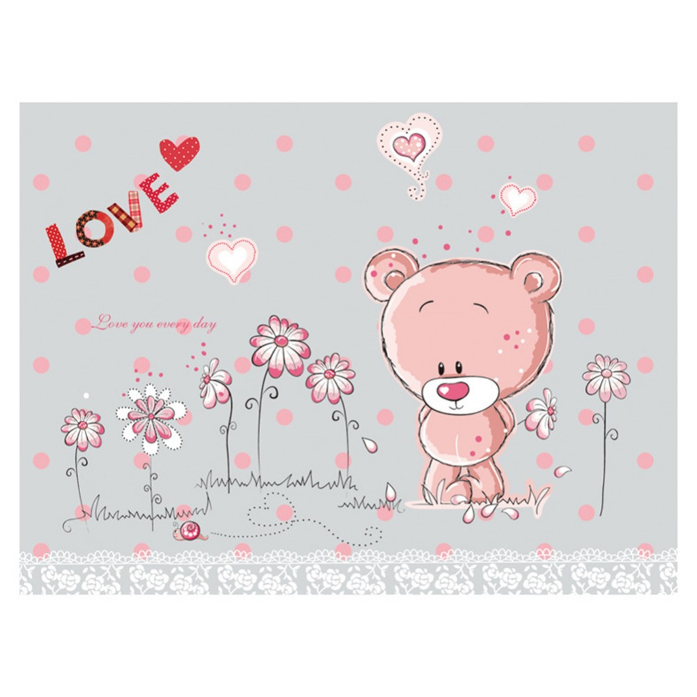 Removable Pink Bear Wall Sticker Kids Baby Room Decal Home Decor Wallpapers S5V - Best Distributor & r Mall store