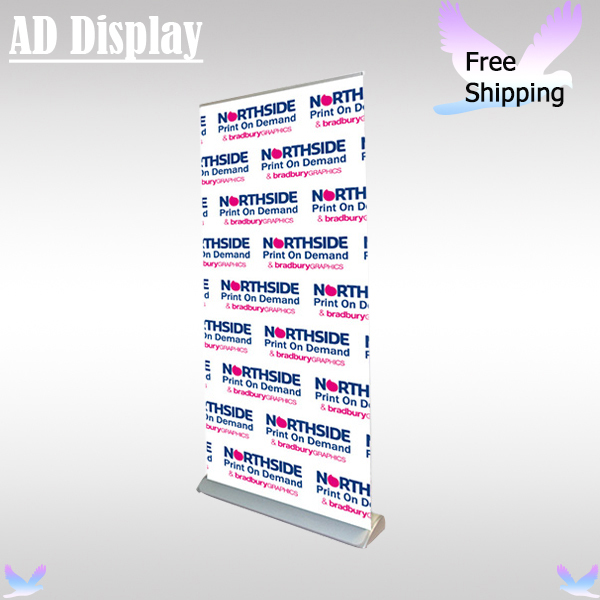 Free Shipping 120*200cm Plastic Steel Exhibition Wide Base Roll Up Banner Display Stand With Full Color Fabric Material(China (Mainland))