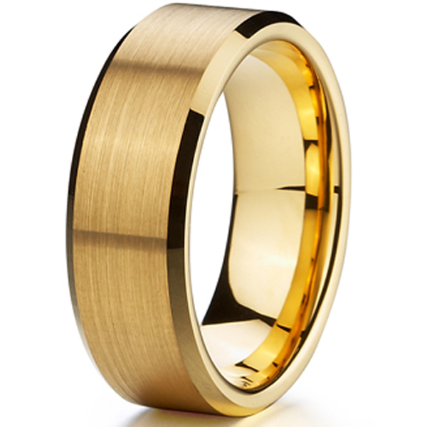 Cheap Classic Gold Ion Plating Tungsten Mens Wedding Ring Size 15 Aliancas De
