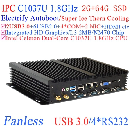 Industrial computer workstation with USB 3.0 Dual Gigabit LAN 4 RS232 HDMI Auto Boot Intel Celeron C1037U 1.8Ghz 2G RAM 64G SSD(China (Mainland))
