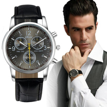 Faux PU Leather Luxury Brand Business Casual Dress Watch Relogio Masculino Male Sport Quartz Military Watches #QD15