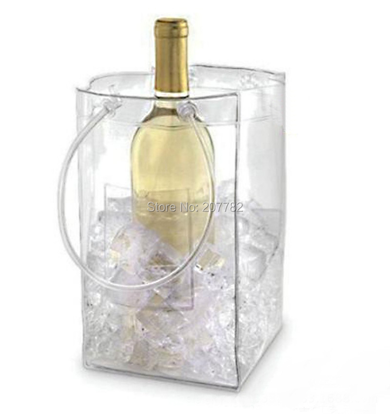 Transparent Portable PVC Ice Cooler Bag Pack For Wine Champagne, Free Shipping, Dropshipping(China (Mainland))