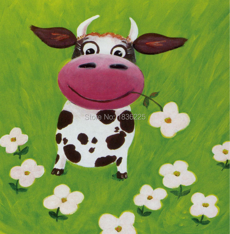 Handmade bulk items Funny animals cow decorative wall stickers oil painting on Canvas for living room kids room home decor wall(China (Mainland))